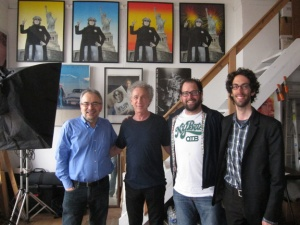 Photo taken in April 2012, at Bob Gruen's studio of Dad, Bob Gruen, Peter Thomas Fornatale (rocking an OTB T-Shirt), and Jeremy Rainer